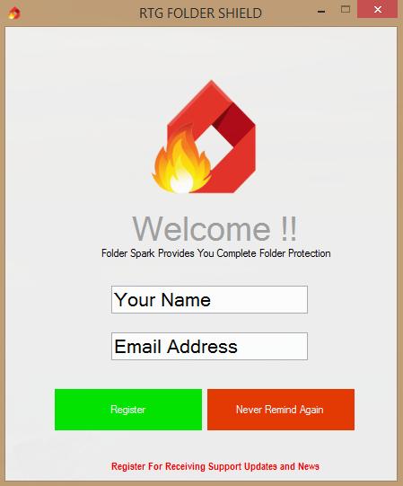 صورة لشرح التسجيل في برنامج Folder Spark